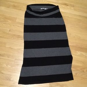 Black and gray stripe maternity maxi skirt